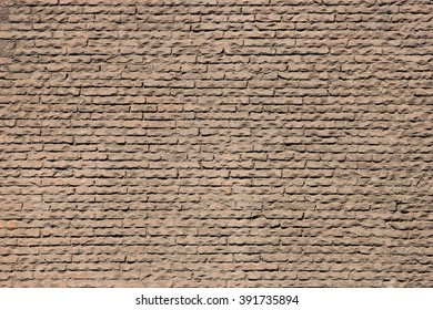 Texture of old red bricks of ancient wall of Pantheon in Rome