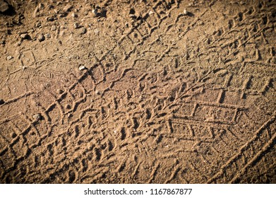 texture of old tread car tires