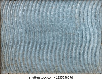 Texture Of Old Vintage Washboard. Wavy Pattern, Ribbed, Goffered Galvanized Sheet Metal.