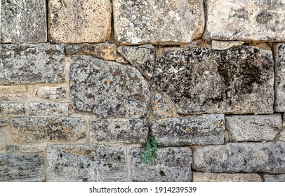 The texture of the old wall. Vintage brick background. The wall is made of shell rock of various rectangular shapes.
