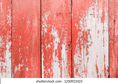texture of old wooden boards covered in paint. Color of the year 2019 Living Coral