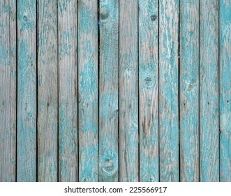Texture of old wooden fence painted with green paint