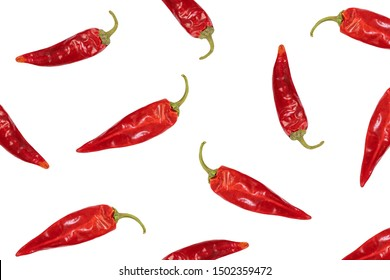 Texture or pattern dried red chili or chilli cayenne pepper isolated on white background.