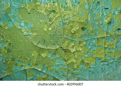 the texture of the peeling paint on a concrete wall
