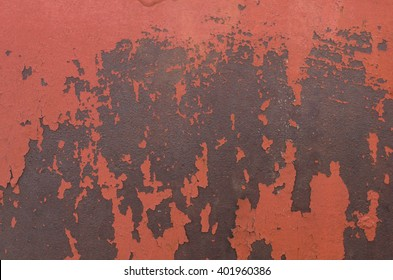 the texture of the peeling paint on the sheet iron