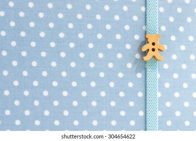 Texture of Polka Dot Notebook Cover with Teddy Bear Bookmark, in Bright Blue