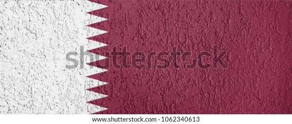 The texture of Qatar flag on the wall of the plaster.