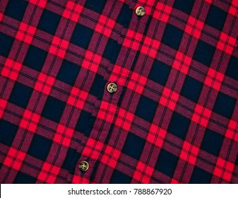 texture of red black checkered fabric pattern background