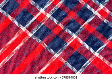 Texture of red and blue a checkered woolen fabric