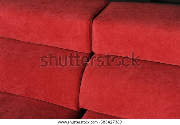Texture of red fabric sofas. Fragments