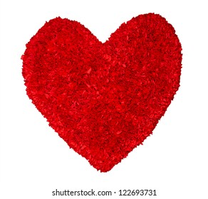 Texture of red heart isolated on white.