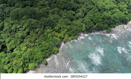 Texture Rich Low Tide Aerial Photography of the Cabo Blanco Coastline in Tropical Costa Rica.  Birds Eye View Drone