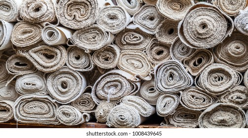 Texture of rolls of raw fabric