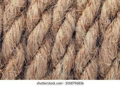 Texture of a rope made of flax closeup
