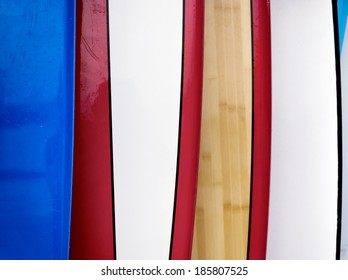 texture, row of surfboards