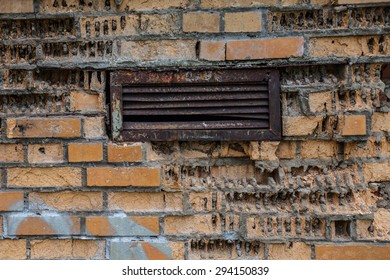 texture of ruined brick wall with lattice