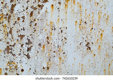 Texture of a rust on a steel railroad bridge with an old paint job near Grabovka village, Gomel region, Belarus.