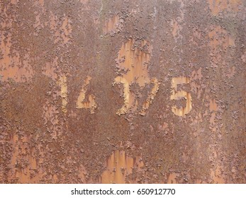 Texture rusty freight wagon with numbers