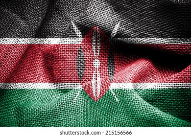 Texture of sackcloth with the image of the Kenya flag