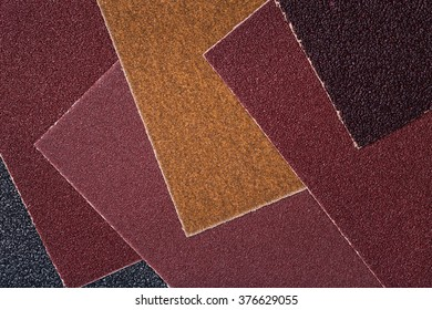 The texture of sandpaper with different grits