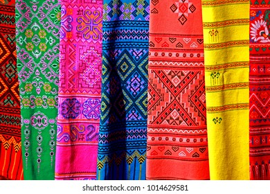 Texture of sarong in Thai Local Market