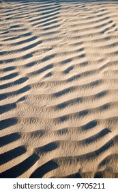 Texture and shadow on the desert sand dunes