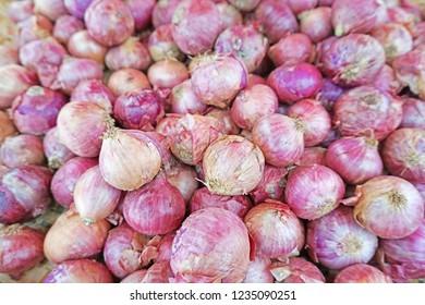 ฺBackground and texture of shallot. Pile of shallot in fresh market. Shallot for food ingredient.