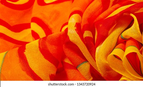 texture silk, fabric red background with painted yellow flowers Fabric textile pattern illustration. Bright yellow floral and curry-colored striped print that runs the entire length of the yard.