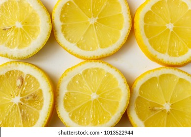 The texture of the sliced up lemon