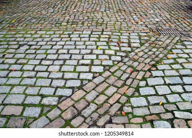 Texture of square gray paving stones with a path obliquely of the same paving stones