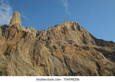 The texture of the stone of an extinct volcano.