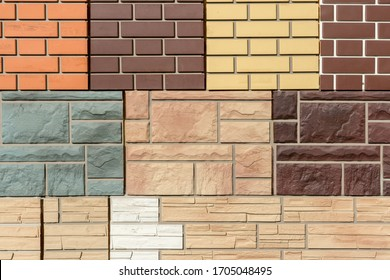 Texture of stone wall and brick panels for interior and exterior decoration different colors and sizes are geometrically located. Abstract background for your design.