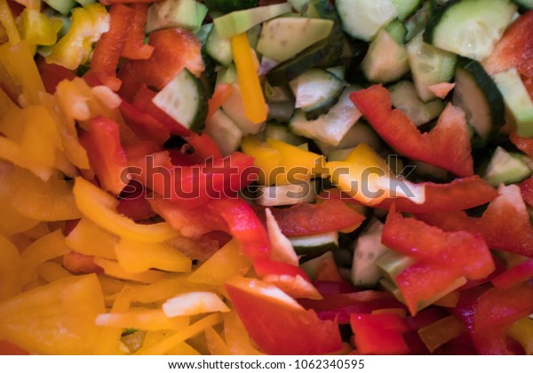Texture of tasty fresh diced vegetables