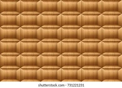 Texture of teak wood square background, Wooden brick block wallpaper.