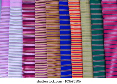 Texture of Thai cloth mix color