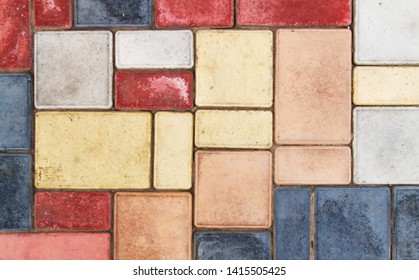 Texture of tiles brown multicolor close up
