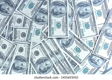 Texture US dollars. Background of one hundred dollar bills