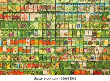 Texture of vegetable seeds in packets in the Prior Park Garden Center, in Bath, England. The photo was taken on 20th June, 2015.