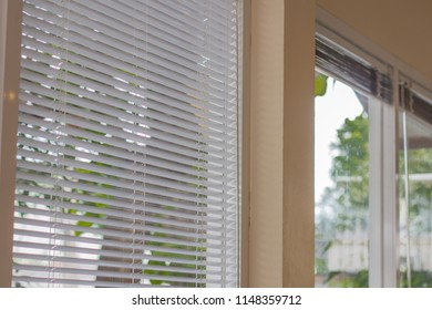 Texture of venetian blind in the white tone.