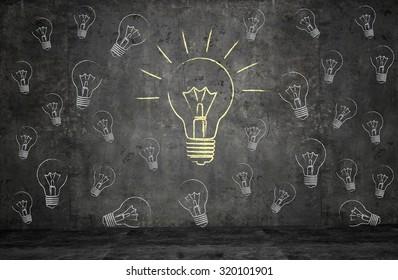 Texture wall with light bulbs