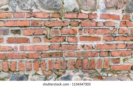 texture of a wall lined with bricks through a cement slurry
