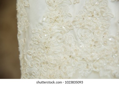 Texture of wedding dress, beadwork