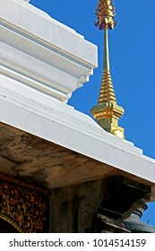 Texture of white pagoda in temple, Thailand