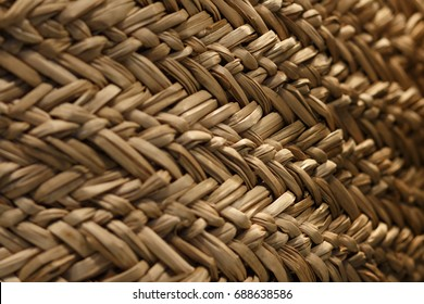 Texture of a wicker basket. Wicker texture with different depth of field. A picturesque abstraction of a wicker texture.