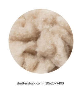 Texture of wool, cashmere, cut in a circle on a white background, industrial cashmere, coarse wool like a cloud, beige, close macro
