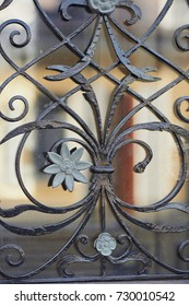 The texture of the wrought-iron grille on the window.
