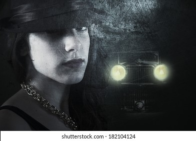 Textured 1930's style imagery with a young woman in dark street followed by a strange retro car