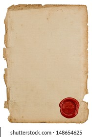 textured antique paper sheet with red wax seal isolated on white background
