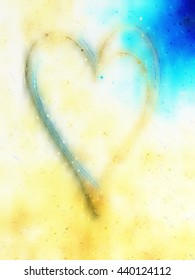 Textured background of abstract heart illustration with beach effect