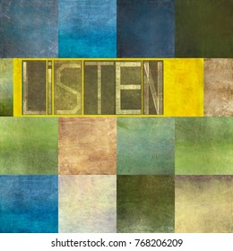 Textured background image and design element with the word 'Listen'